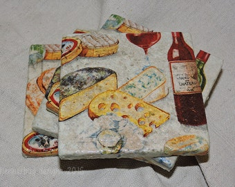 Wine and Cheese Coasters - Natural Stone