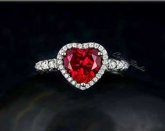Heart Ruby Ring Ruby Engagement Ring/ Wedding Ring 925 Sterling Silver Anniversary Ring Promise Ring