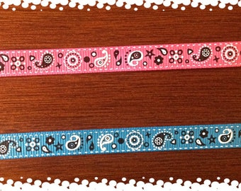 Cat or Dog 3/8 Wide Custom Made Adjustable Bandana Grosgrain Patterns Collar
