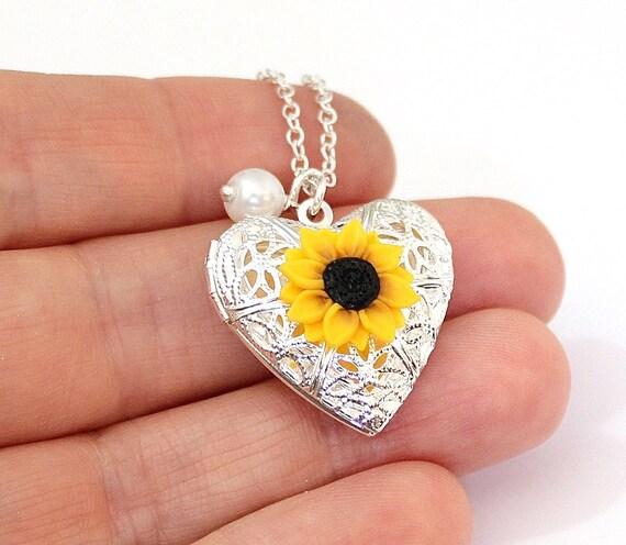 Sunflower Heart Locket Necklace Gold Sunflower Silver Plated