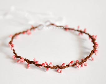 Wedding Flower Crown, Peach pink berries crown, Bridesmaid crown, Bridal hair accessories, Boho Berry Crown, Woodland circlet, Pink wedding