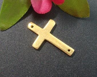 2 pcs - 24K Gold Vermeil Sterling Silver Sideways Cross Connector, 16x10mm, Handmade Findings