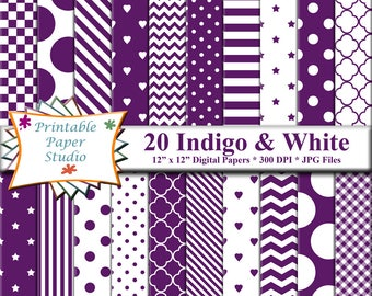 Indigo Purple Digital Paper Pack, Purple Colored Paper for Cardmaking, Purple Scrapbook Paper 12x12, Patterned Paper, Instant Download File