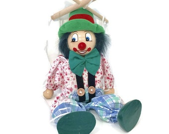 Wooden Clown Puppet / Marionette on Strings