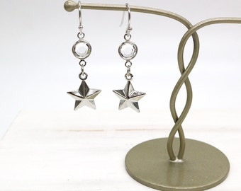 Star Earrings, Silver Star Earrings, Swarovski Crystal Star Earrings, Star Dangle Earrings, Crystal Earrings, Star Jewelry