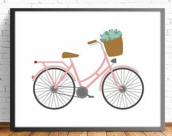 bike print, wall art print, nursery decor, Bicycle lover, wall art decor, retro bike, vintage bicycle art, bike lover, bicycle gift
