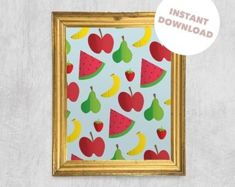 Printable Wall Art - Fruit Salad, Digital Download, Fun Print, Children's Art, Instant Nursery Decoration