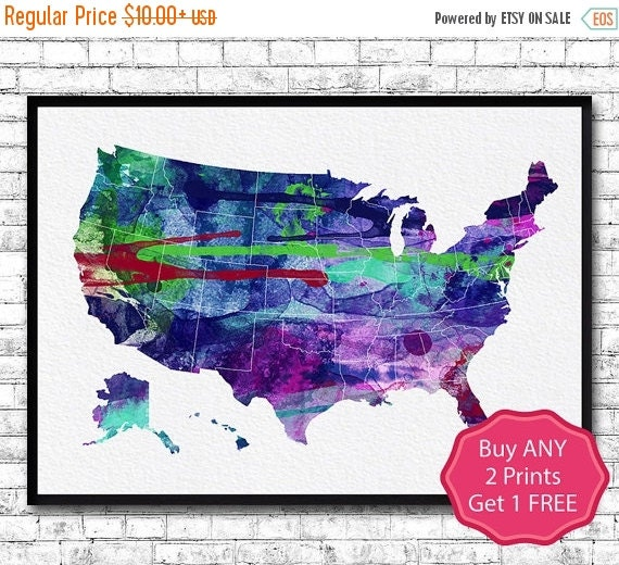 30% OFF United States Map USA Watercolor Print By ArtsPrint