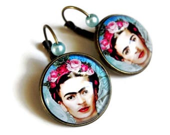 Earrings * Frida Kahlo * surrealism painting table celebrates pink blue flowers, glass cabochon
