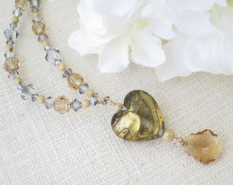 Swarovski crystal necklace, Gold heart shaped pendant necklace, Unique topaz and gray lampwork necklace