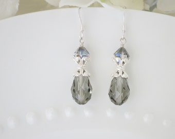 Swarovski black diamond crystal earring, Gray crystal teardrop bridal earring, Crystal and sterling silver wedding earring