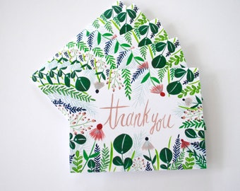 Thank You flora greeting cards - hand painted set of five 5.5 x 4