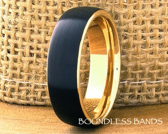 Tungsten Ring Black And Yellow Gold Plated Mens Woman's Ring Mens Wedding Band 7mm His Hers Comfort Fit Anniversary Promise Wedding Ring