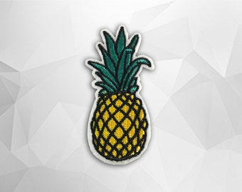 Pineapple Iron on Patch(M2) - Pineapple Applique Embroidered Iron on Patch - Size 3.0x6.8 cm