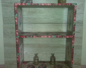 BOOKCASE, SHELVING, Decoupage Bookshelves, Pine Shabby Chic Shelving,Old Pine Bookshelves, Floral Decoupage Bookcase, Shelf Unit, Book Casae