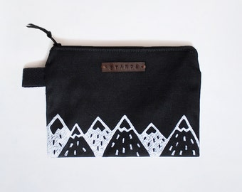 Mountain Black Zipper Jewelry Pouch, Pencil Case, Purse, Cosmetic bag with handmade print