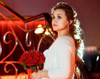 IVORY Wedding Bolero, White Wedding Bolero, Angora Bolero, Knit Wedding Bolero, cardigan with 3/4 sleeves, Bridal Bolero, Wedding Bolero