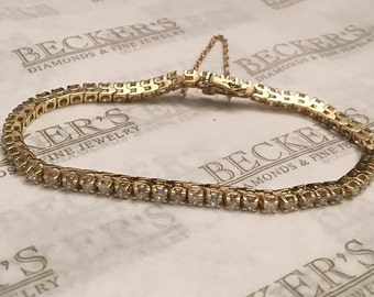 "Classic Vintage 14k yellow gold 55 Round Diamond Line Tennis Bracelet 3.00 tw, HI-I1-2, 7"" with Safety Chain"