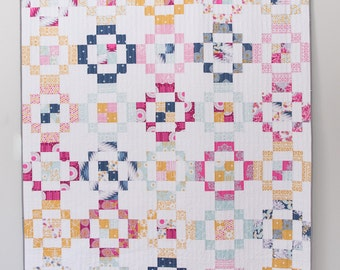 Jelly Rings PDF Quilt Pattern/ modern quilt pattern/ jelly roll pattern/ throw quilt pattern/ modern quilt pattern/ jelly roll quilt/ quilt