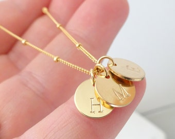 Personalized & custom jewelry, Initial Disc Necklace, Monogram Necklace, Rose Initial Necklace Gold Initial Charm, Silver disc necklace