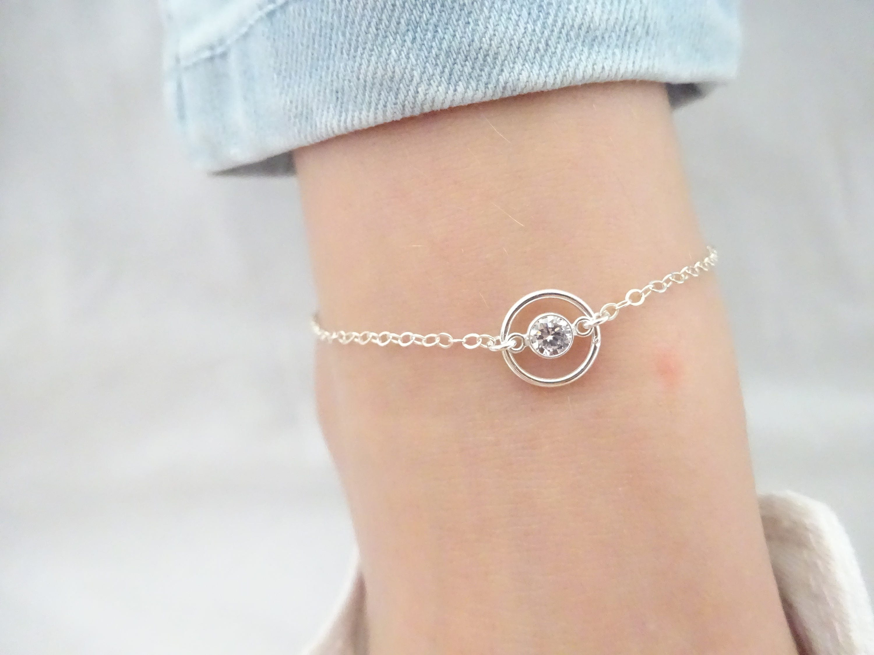 anklet link sterling anklets cubic details romantic clr product silver zirconia products chain heart ca clear