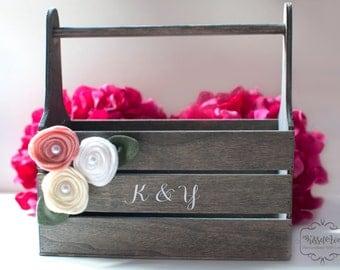 """Flower Girl Basket Rustic Flower Girl Basket Wedding Decoration Rustic Flower Girl Basket 8""""x8""""x4"""""""