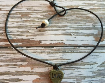 LOVE Heart Leather Pearl Choker Necklace ~ Gift