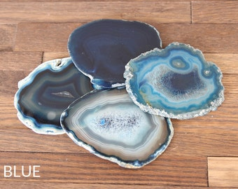 Agate Coasters Set of 4 or 6 / Blue / Natural / Purple / Pink / Agate Slice / Geode Coasters / GIFT Packaging Available
