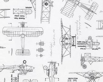Vintage Blueprints Aviation Fabric / Plane Blueprints Fabric / Airplane Fabric / 15675 184 CHARCOAL Rober Kaufman / Fat Quarters and Yardage