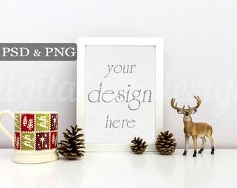 Styled Stock Photography Christmas Deer & Mug  Vertical Mockup Download Frame Empty Art Frame Product Digital Background  Photo