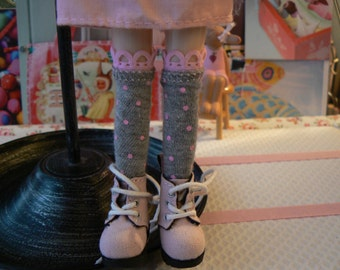 Grey and pink Over the Knee Blythe Socks  Blythe Doll socks with pink dots  Blythe clothes handmade in Paris France