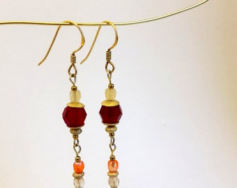 Earrings with dark red Swarovski crystal