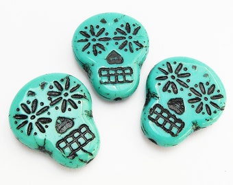 2 -Turquoise with Black Wash 20x17mm Sugar Skull Beads, Czech Glass Beads, Opaque, Day of The Dead, Monkeyshine Beads