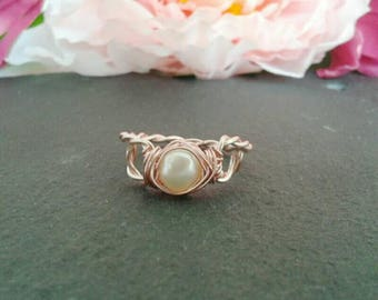Rose gold pearl ring - rose gold filled - pearl ring - boho jewelry for wife - romantic jewelry for girlfriend - UK seller