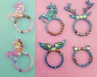 Size 7 - Kawaii Glitter Resin Rings - Unicorn, Deer Antlers, Angel Wings, Cat Ears