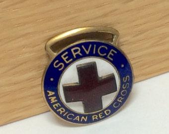 Vintage WWI Red Cross Service Enamel Medal Unmarked