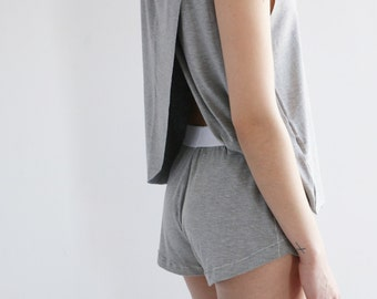 Lux Lounge Shorts in Grey in Bamboo Rayon - PAST SEASON
