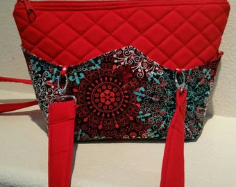 SALE: Quilted Interchangable/Reversible RED Hand bag/Purse