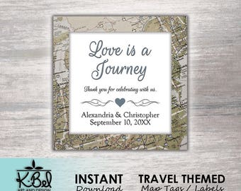 Printable Travel themed Labels - Map Favor Tags - Road Map Stickers - Weddings / Engagements / Bridal - INSTANT DOWNLOAD / Digital