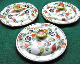 "Cantagalli - 3 lids hand painted floral 4 1/4"" Florence Italy"