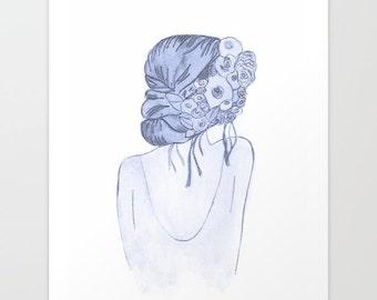 Boho Flower Girl in Blue Grey - Giclee Print