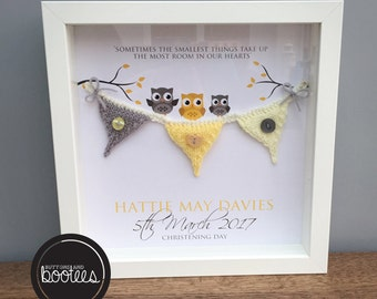 Customised, personalised knitted bunting frame, ideal for Christenings, new baby gifts, Baptisms and baby showers