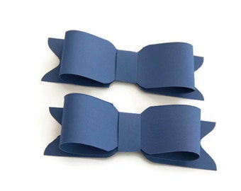 Set of 6 DIY blue paper bows, blue bows, blue gift bows, gift wrapping bow, blue gift topper