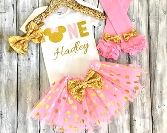 Personalized pink and gold Minnie Mouse 1st birthday Outfit, Minnie Mouse 1st birthday shirt, pink gold minnie birthday outfit,  legwarmers