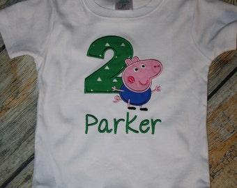 George Pig Birthday tee, Two Birthday tee, birthday shirt, personalized birthday shirt, Peppa Pig Birthday Shirt, Peppa sibling shirts