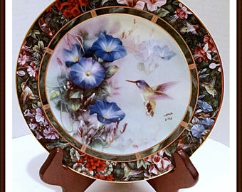 Lena Liu Plate in Fine Porcelain The Violet Crowned Hummingbird 3rd Issue Hummingbird Treasury Collection
