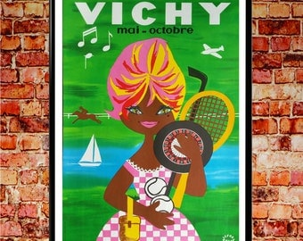 France Travel Poster Vichy France French Poster French Wall Art French Art Tennis Wall Art Retro Poster 1960