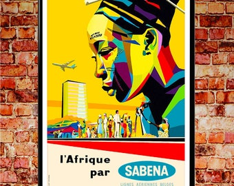 African Wall Art Afrique Wall Art Poster Sabena Airways African Decor Wall Art Print Art Decor African Wall Art (sizes up to 50cm x 70cm)