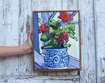 "Geraniums by the Window II, 11""x14"", Original Painting, Acrylic on Canvas"