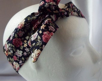 Black and pink rose floral adult head band hair wrap scarf bandana headwrap